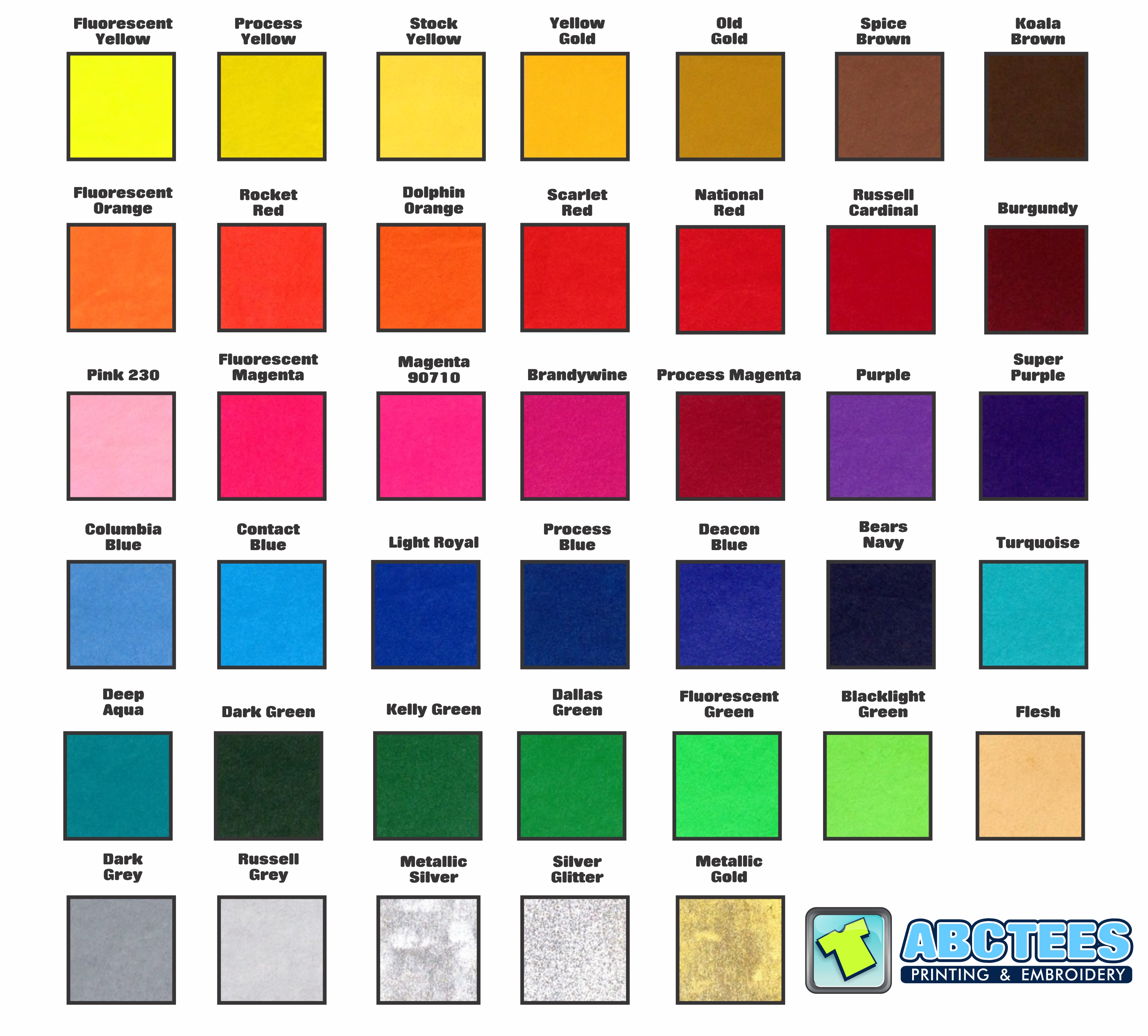 Made to order screen printing and embroidery services for Dark blue color chart